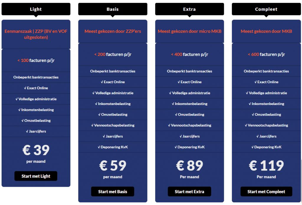 tarieven en prijzen van een boekhouder